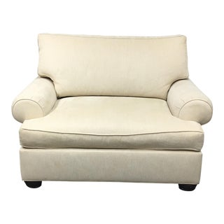 Ethan Allen Oversized Ivory Armchair or Chair-And-A-Half