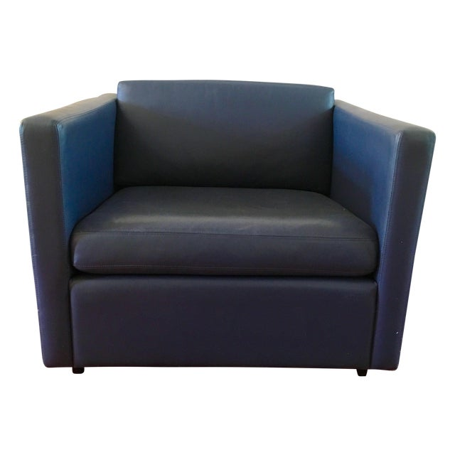 Image of Authentic Blue Leather Knoll Pfister Lounge Chair