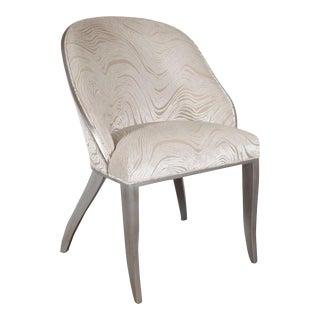 Art Deco Hollywood Gondola Desk / Vanity Chair in Smoked Oyster Gaufrage Velvet