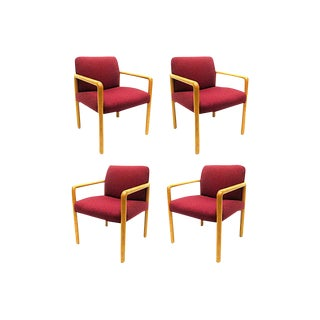 1960s Red Oak Chairs - Set of 4