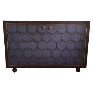 Blue Scalloped Buffet Cabinet