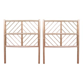 Gold Chippendale Bamboo Twin Headboards - A Pair