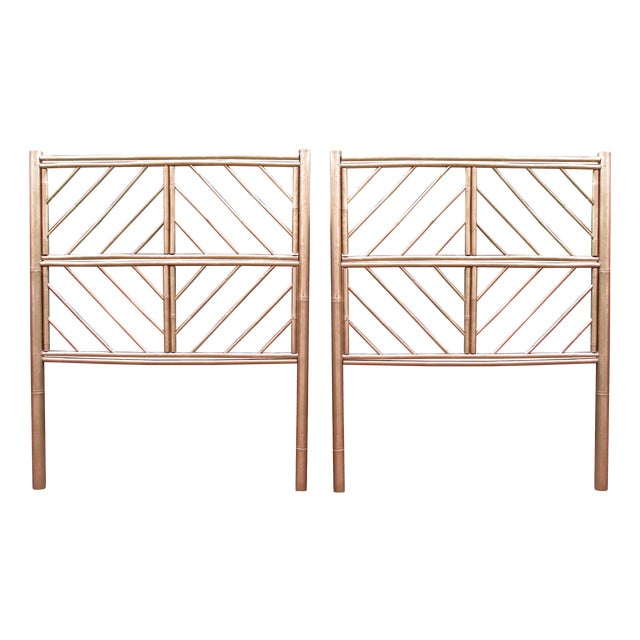 Image of Gold Chippendale Bamboo Twin Headboards - A Pair