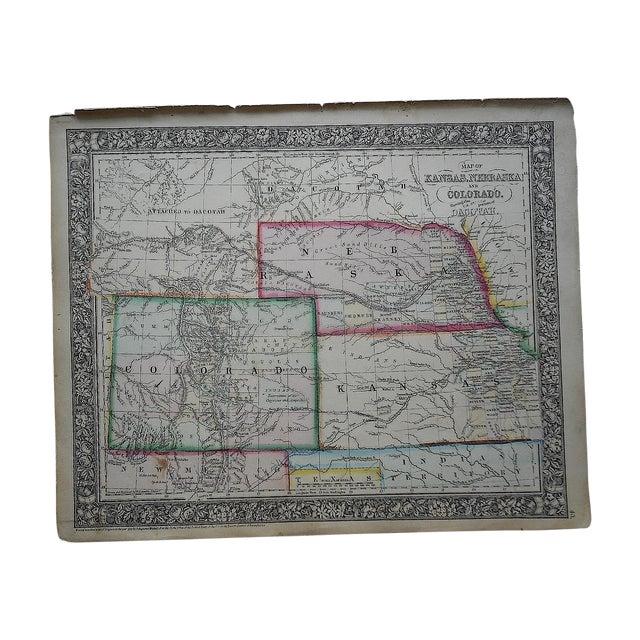 Antique Kansas, Nebraska, Colorado & Dakotah Map - Image 1 of 3