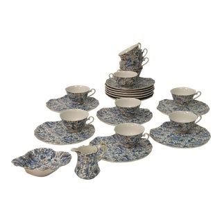 Blue Paisley Luncheon Set - S/12