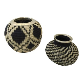 Pair of Colombian Handwoven Baskets with Silver Trim
