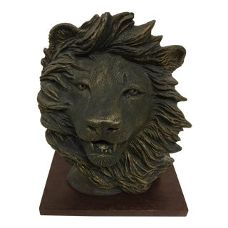 Artisan Ceramic Lion Sculpture Set on Rosewood