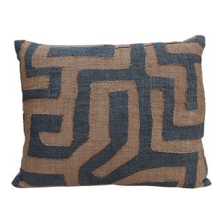 African Cloth Kuba Brown & Black Pillow
