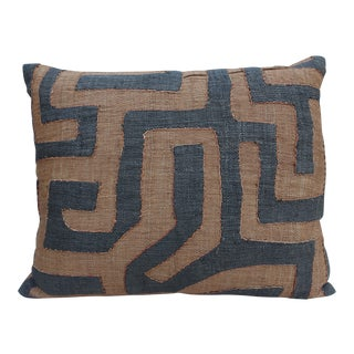 African Cloth Kuba Brown & Black Pillow