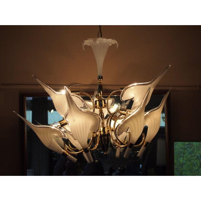 Brass & Case Glass Petal Chandelier - Image 2 of 2