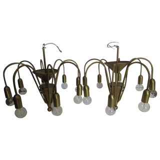 Whimsical Vintage Brass Chandeliers - Pair
