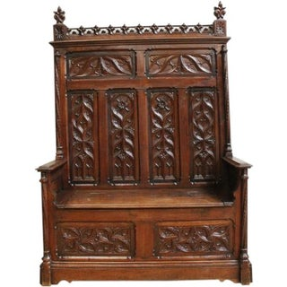 1880s French Gothic Antique Bench
