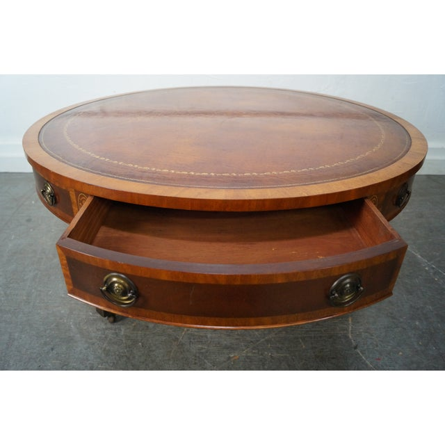 Coffee Table With Leather Top: Mahogany Inlaid Leather Top Round Federal Style Coffee