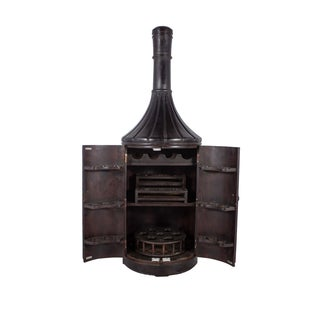 Teak Wood 6ft Bottle Shaped Wine Rack Cabinet