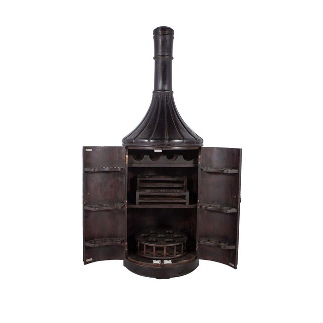 Image of Teak Wood 6ft Bottle Shaped Wine Rack Cabinet