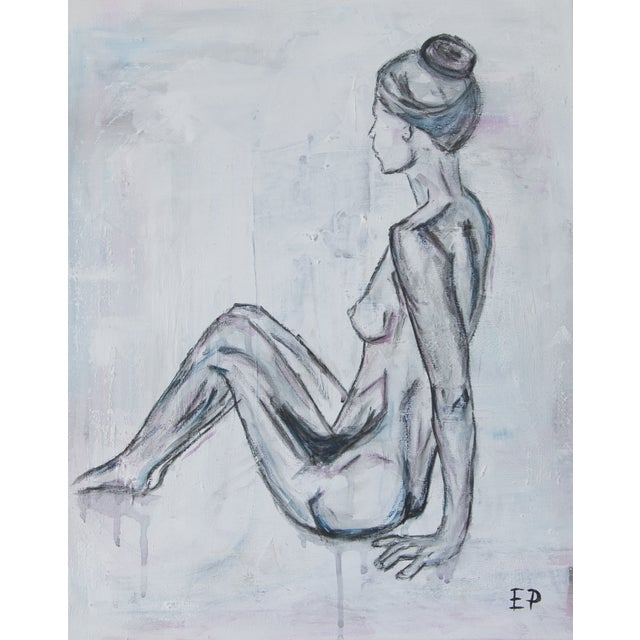 Sitting Nude Woman-Abstract Figurative Painting - Image 4 of 4