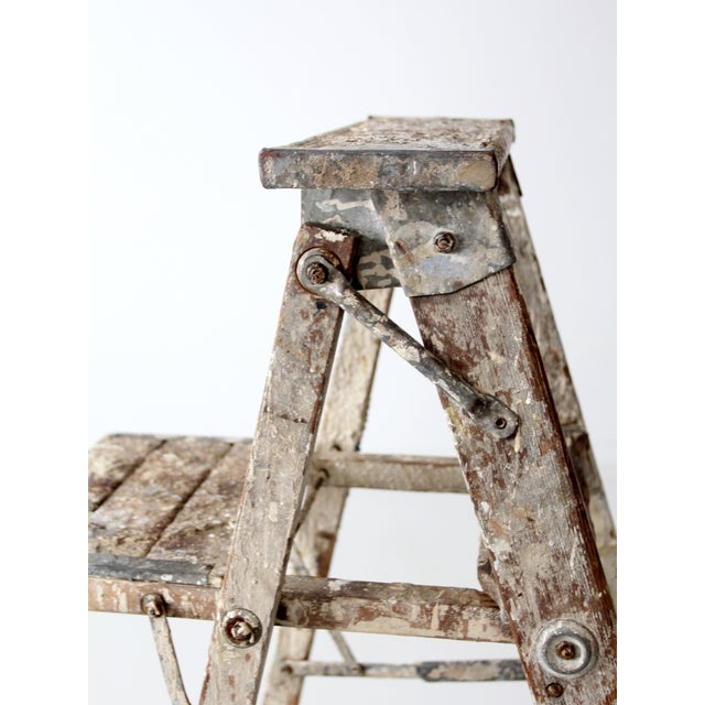 Image of Vintage Rustic Wooden Painter's Ladder