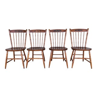 L. Hitchcock Harvest Paint Decorated Birdcage Style Chairs- Set of 4