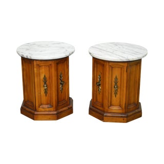 Vintage Pair of Round Marble Top Cylinder Cabinet End Tables