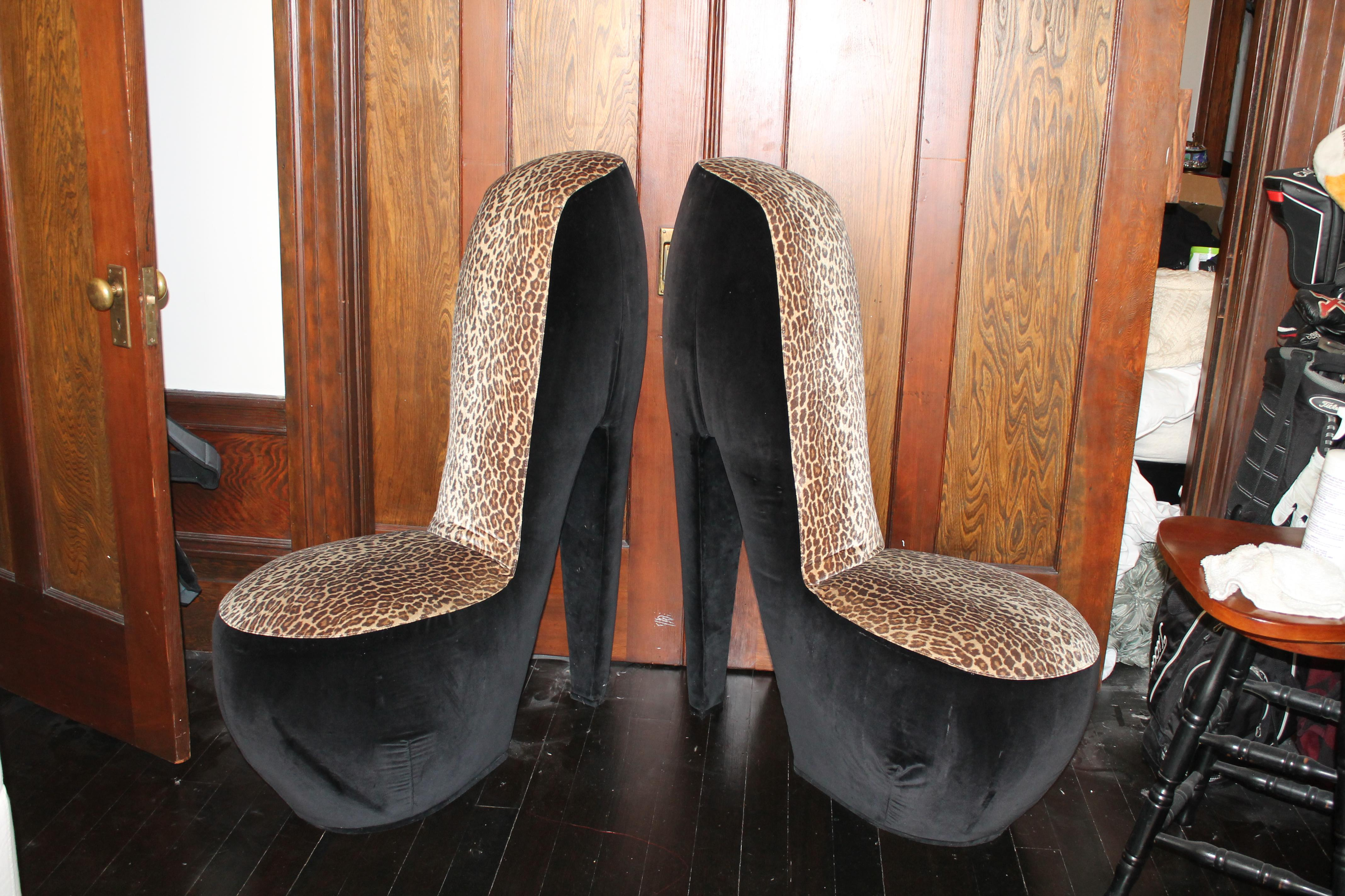Leopard Print High Heel Shoe Chairs   A Pair   Image 3 Of 8