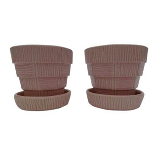 McCoy Pink Pottery Planters - A Pair