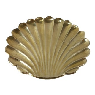 Large Vintage Brass Seashell Catchall Dish