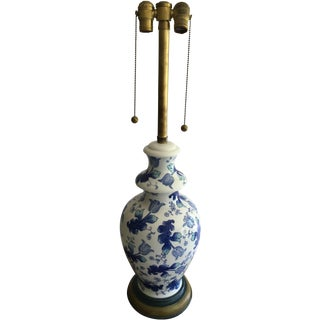 Marbro Blue & White Ceramic Table Lamp