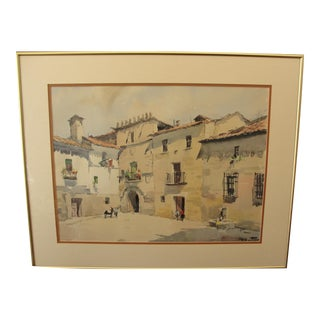 Mid-Century Spanish Town Watercolor Painting