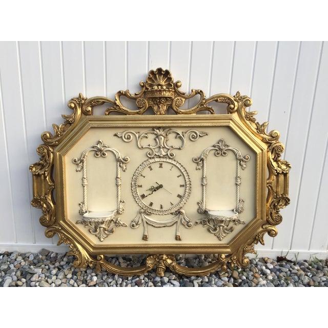 Hollywood Regency Very Large Gold Gilt Framed Clock With Shelves - Image 2 of 7