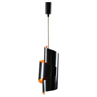 Black And Orange Swirl Pendant Lamp By Simon Henningsen. Denmark, 1960s