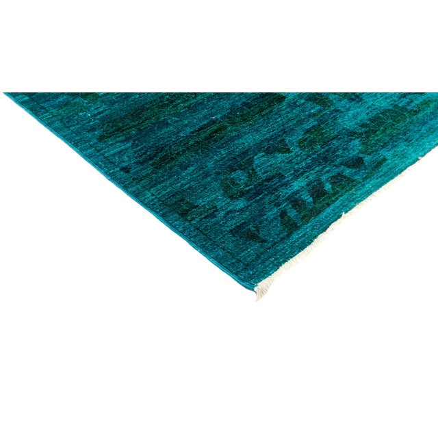 """New Blue Overdyed Hand-Knotted Rug - 6' 2"""" X 6' 7"""" - Image 2 of 3"""
