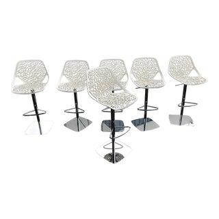 Casprini White Bar Stools - Set of 6