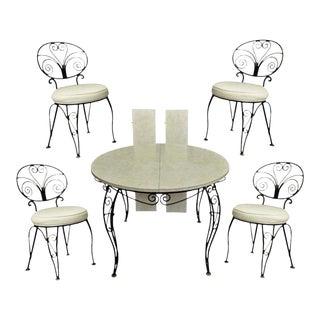 Mid-Century Modern Curule Wrought Iron Patio Dining Set