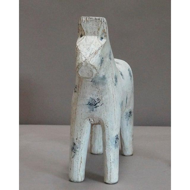 Image of White Dala Horse with Blue-Gray Decoration (#62-70)