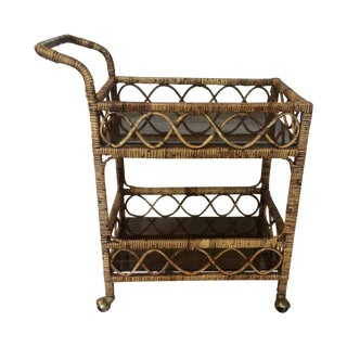 Burnt Rattan Bar Cart