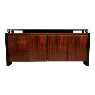Henredon Black Lacquer and Koa Wood Credenza