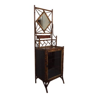 Victorian Mirrored Top Bamboo Cabinet