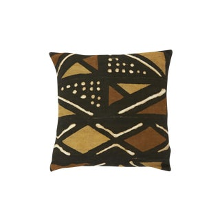 African Mudcloth Pillow Cover with Geometric Tribal Design - 15 x 15 in.
