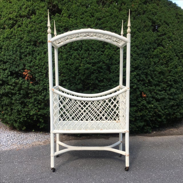Image of White Wicker Canopy Crib