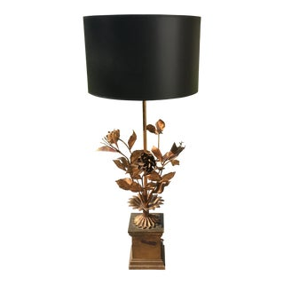 Vintage Gold Tole Flower Lamp