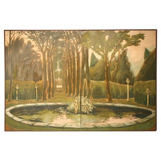 "Life Size Original 3-D ""Garden of Versailles"" 8' X 12' Two-Panel Wall Mural"