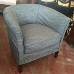 Image of Cisco Leather Barrel Chair With Denim Slip Cover