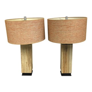 Reclaimed Wood Pedestal Table Lamps - A Pair