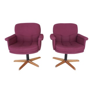 Mid-Century Modern Swivel Arm Chairs - A Pair