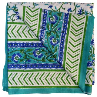 Green Floral Hand Block Textile