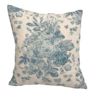Ralph Lauren Blue & White Rose Patterned Pillow