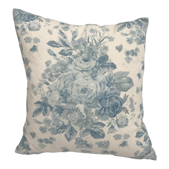 Ralph Lauren Blue & White Rose Patterned Pillow - Image 1 of 8