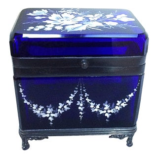 Cobalt Blue Glass Jewelry Box