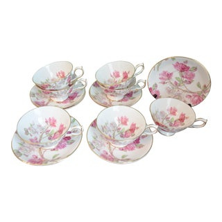 Aynsley Elizabeth Rose Cups & Saucers - Set of 7