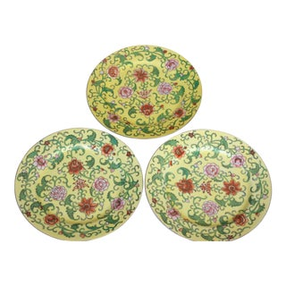 Chinese Yellow Cloisonne Plates - Set of 3